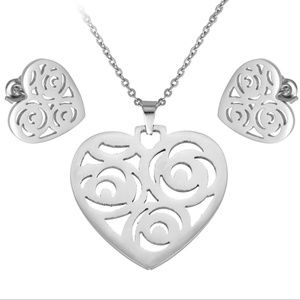 Heart Stainless Steel Necklace and Earrings Set